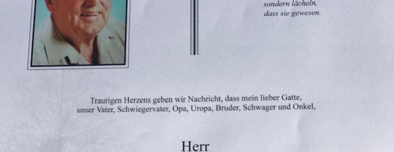 Der Sportverein Wildon trauert um Alois Schenk.